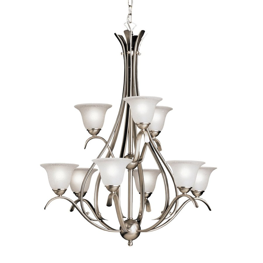 Kichler Dover 27.75-in 9-Light Brushed nickel Country Cottage Seeded Glass Tiered Chandelier