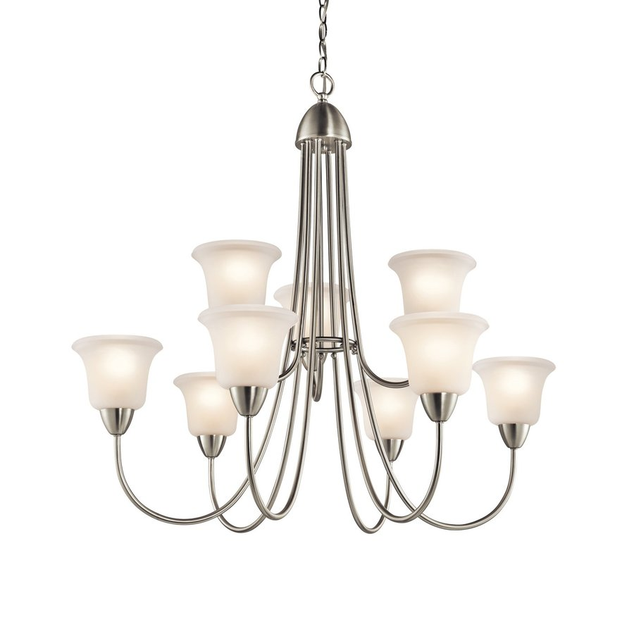 Kichler Nicholson 34-in 9-Light Brushed nickel Etched Glass Tiered Chandelier