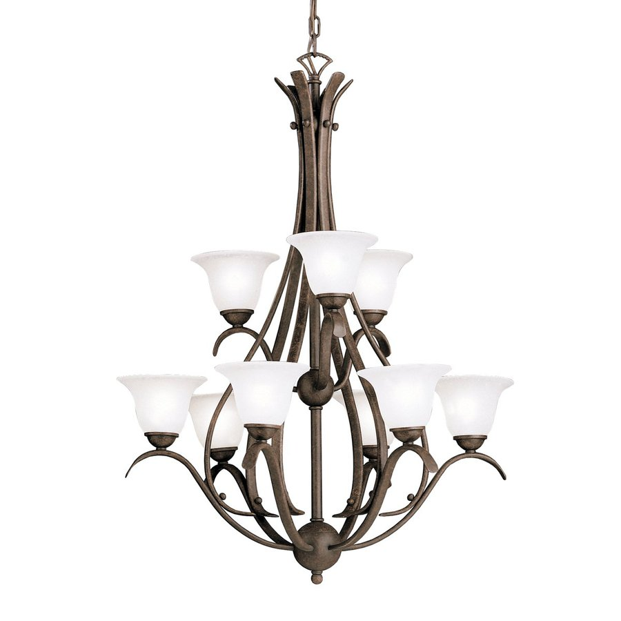 Kichler Lighting Dover 27.75-in 9-Light Tannery Bronze Mediterranean Seeded Glass Tiered Chandelier