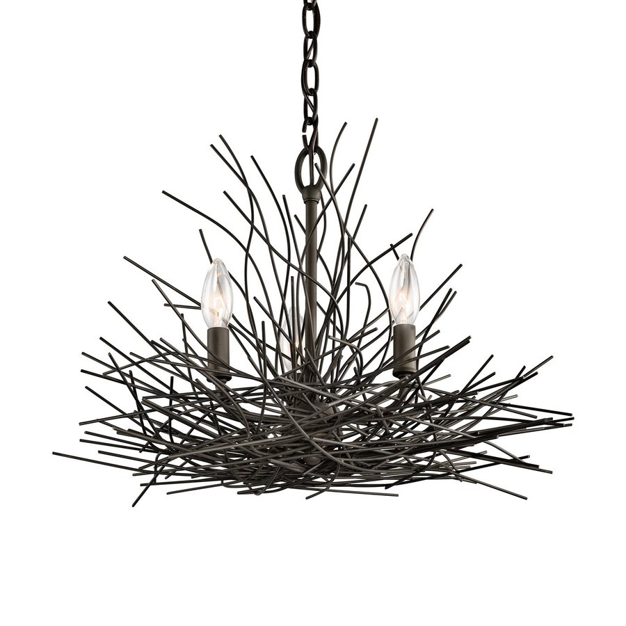Kichler Lighting Organique 18-in 3-Light Olde Bronze Rustic Abstract Chandelier