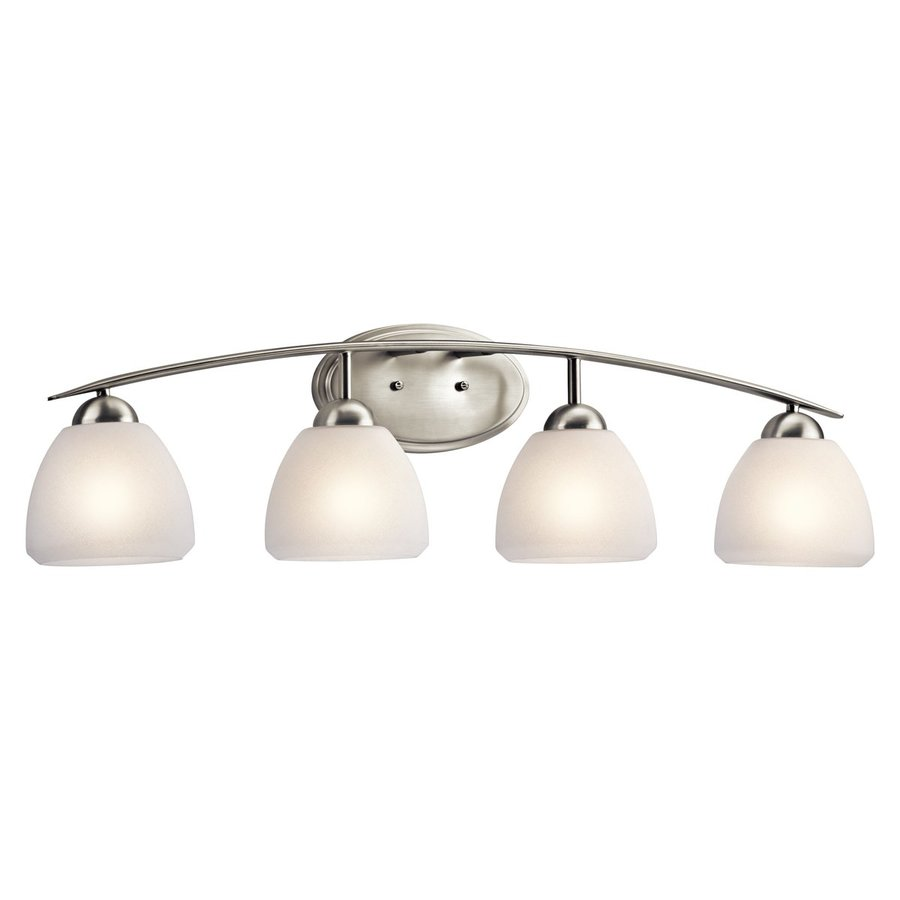 4 Light Brushed Nickel Vanity Lights : Shop Kichler Calleigh 4-Light 9-in Brushed Nickel Bell Vanity Light at Lowes.com