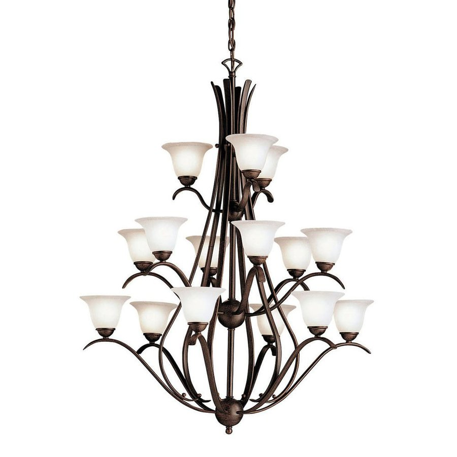 Kichler Dover 36.5-in 15-Light Tannery Bronze Mediterranean Hardwired Seeded Glass Tiered Chandelier