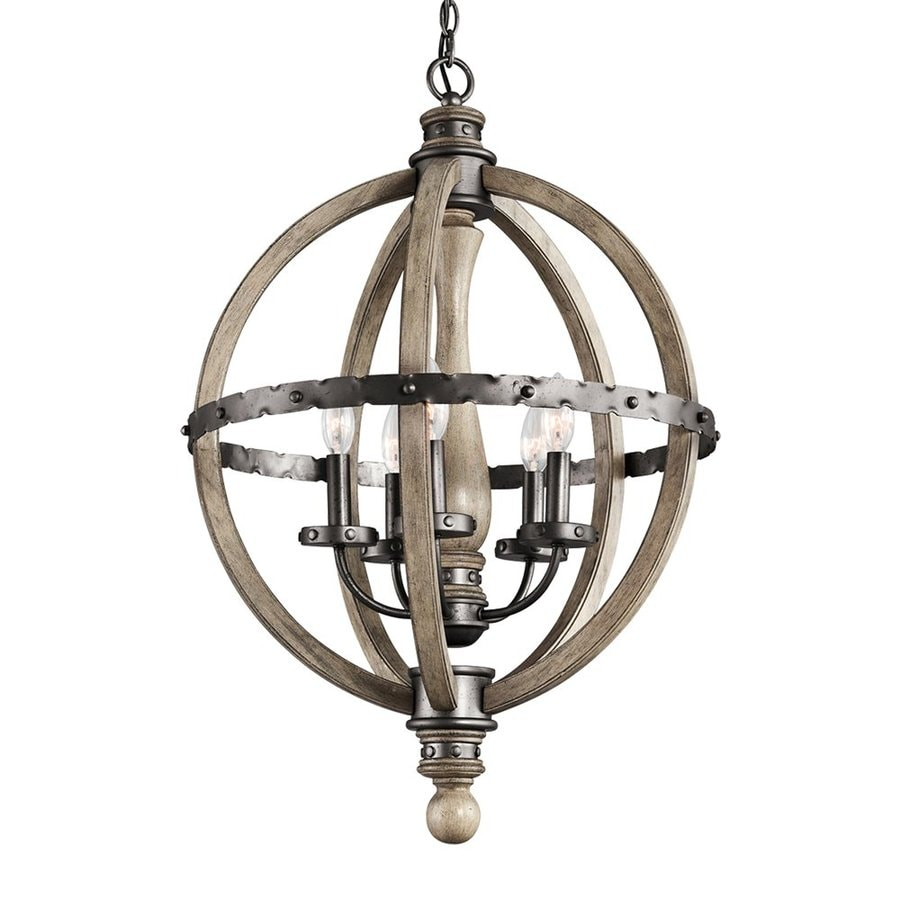 Kichler Evan 20-in 5-Light Distressed Antique Gray Rustic Globe Chandelier