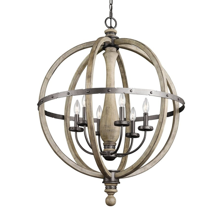 Kichler Evan 28.5-in 6-Light Distressed antique gray Rustic Globe Chandelier