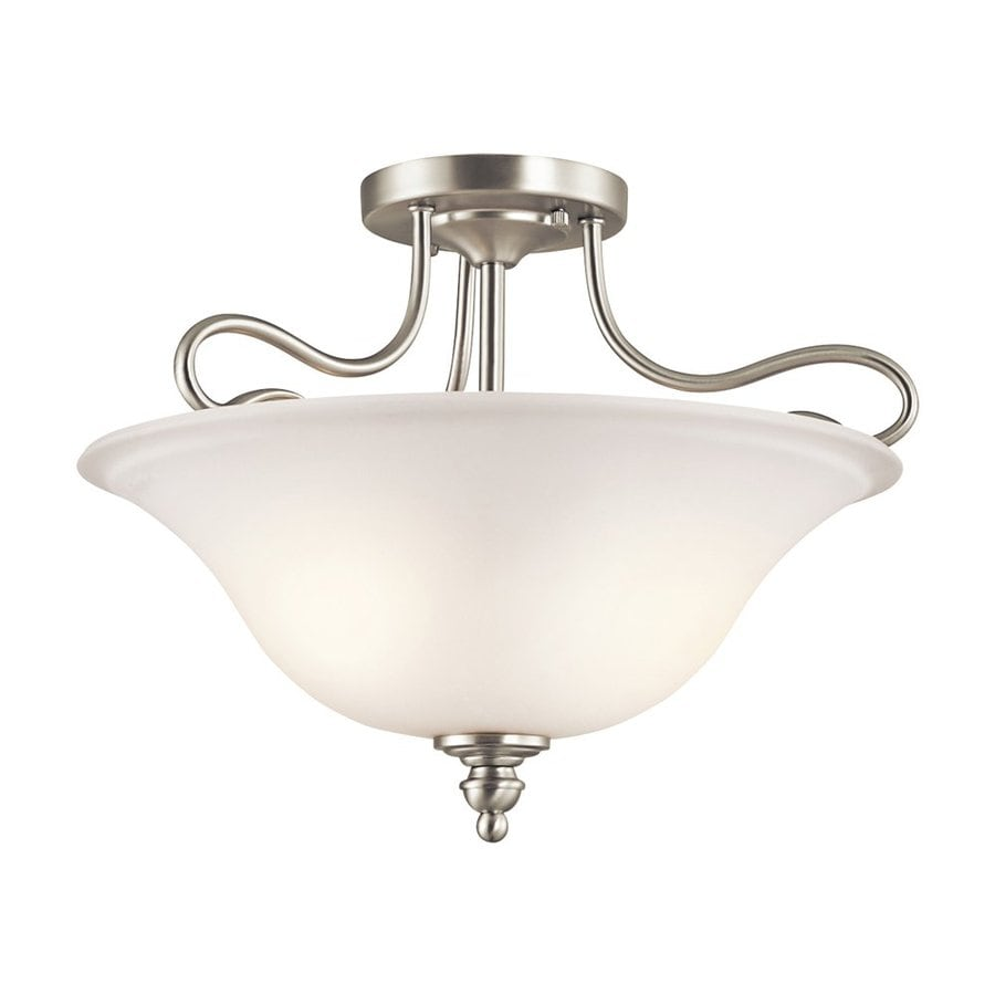 Kichler Lighting Tanglewood 16-in W Brushed Nickel Etched Glass Semi-Flush Mount Light