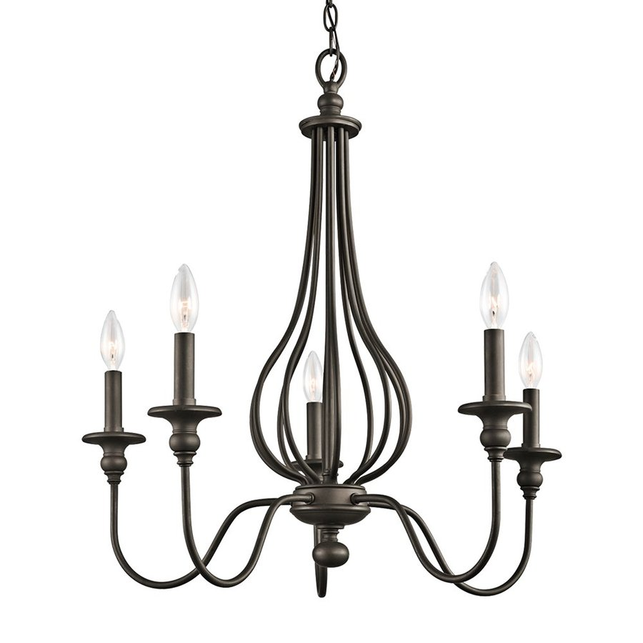 Kichler Lighting Kensington 25-in 5-Light Olde Bronze Wrought Iron Candle Chandelier