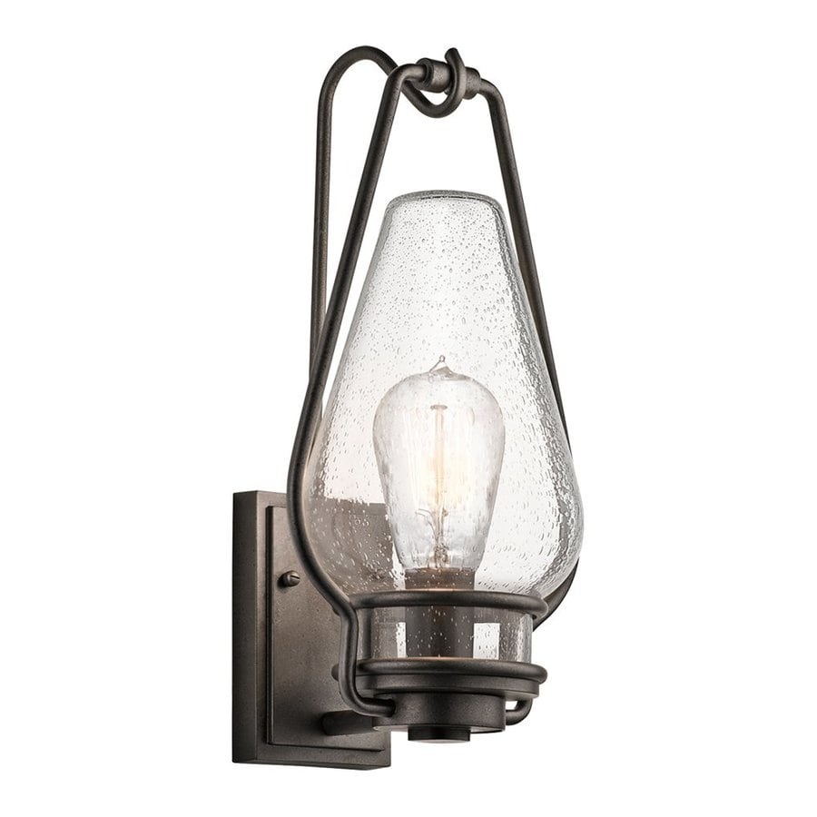 Shop Kichler Hanford 18 In H Anvil Iron Outdoor Wall Light At