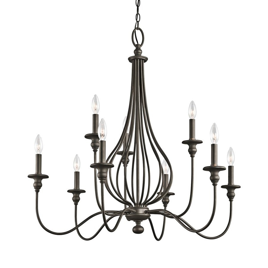 Kichler Kensington 34-in 9-Light Olde Bronze Wrought Iron Hardwired Candle Chandelier
