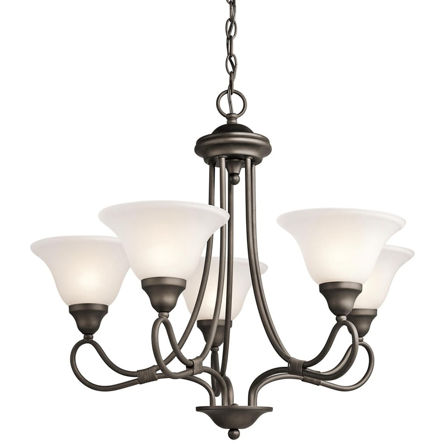 Kichler Stafford 26-in 5-Light Olde bronze Vintage Etched Glass Shaded Chandelier
