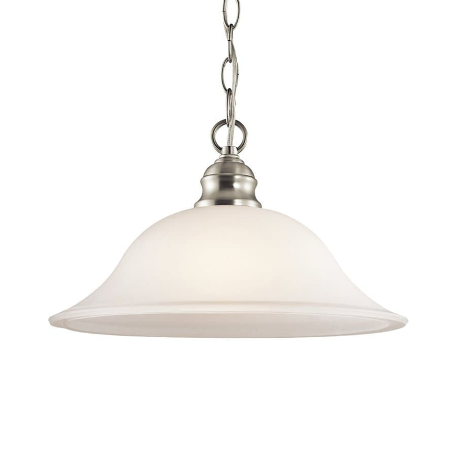 Kichler Tanglewood 14-in Brushed Nickel Country Cottage Hardwired Single Etched Glass Bell Pendant
