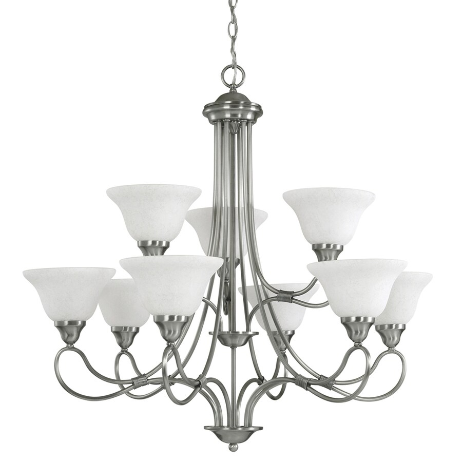 Kichler Stafford 33-in 9-Light Antique Pewter Vintage Hardwired Tiered Chandelier
