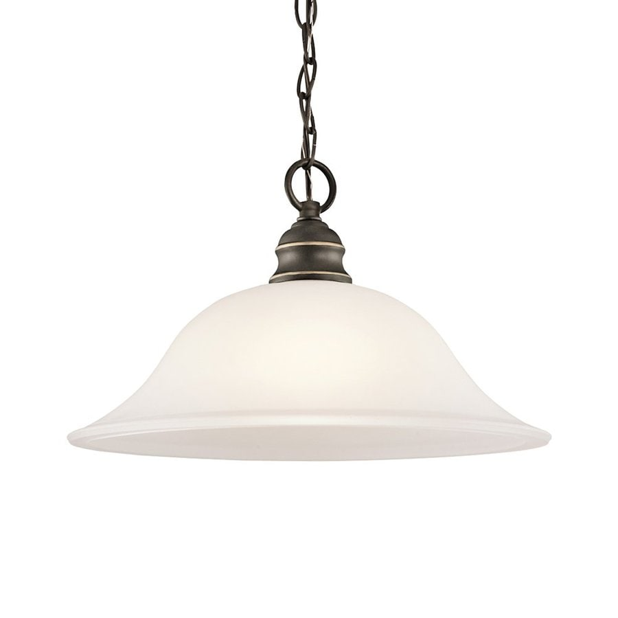 Kichler Lighting Tanglewood 14-in Olde Bronze Country Cottage Hardwired Single Etched Glass Bell Pendant