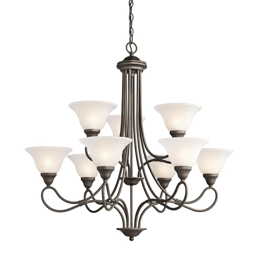 Kichler Lighting Stafford 33-in 9-Light Olde Bronze Vintage Etched Glass Tiered Chandelier