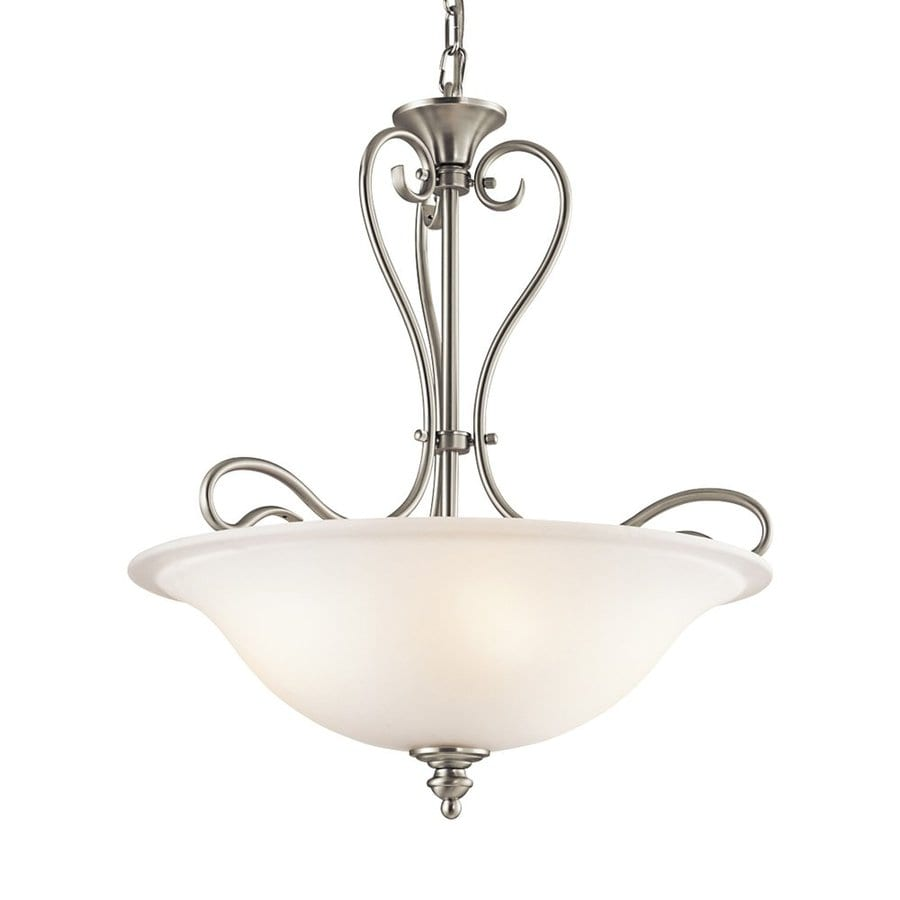 Kichler Lighting Tanglewood 18-in Brushed Nickel Country Cottage Single Etched Glass Bowl Pendant