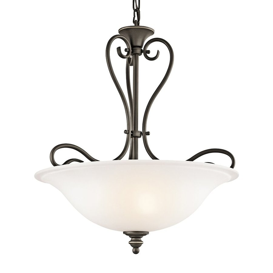 Kichler Lighting Tanglewood 18-in Olde Bronze Country Cottage Single Etched Glass Bowl Pendant
