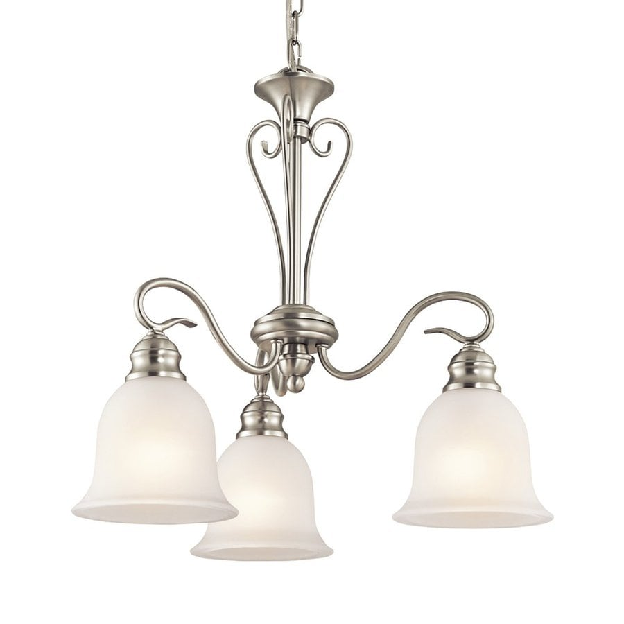 Kichler Tanglewood 20-in 3-Light Brushed Nickel Vintage Etched Glass Shaded Chandelier