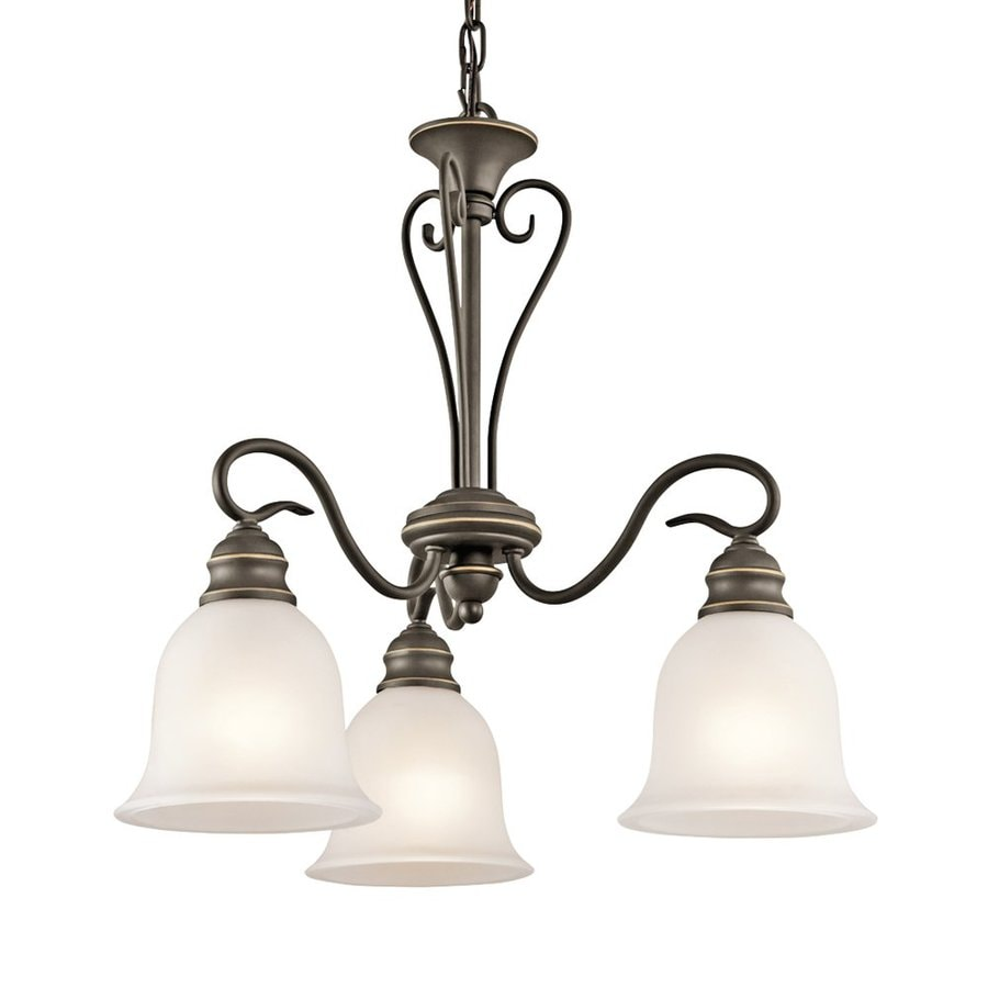 Kichler Tanglewood 20-in 3-Light Olde Bronze Vintage Hardwired Etched Glass Shaded Chandelier