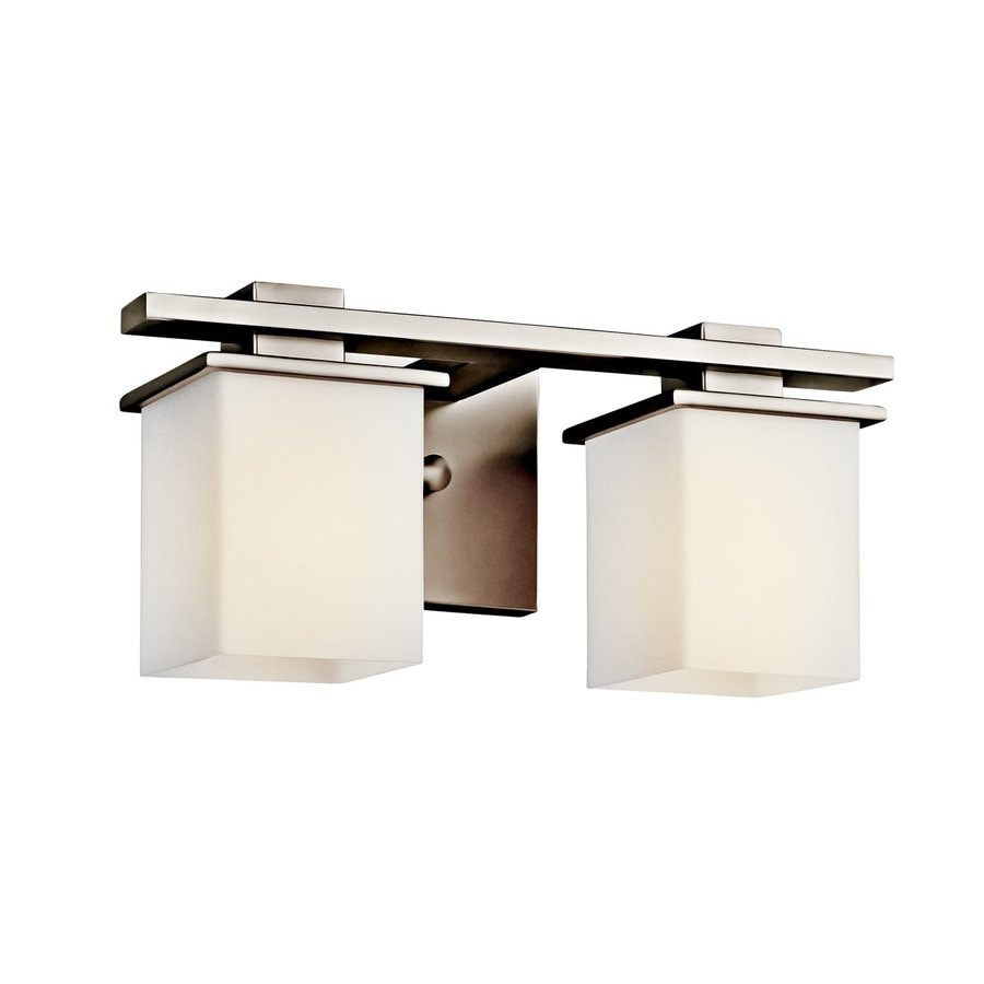 Shop kichler tully 2 light 15 in antique pewter square for 6 light bathroom vanity light