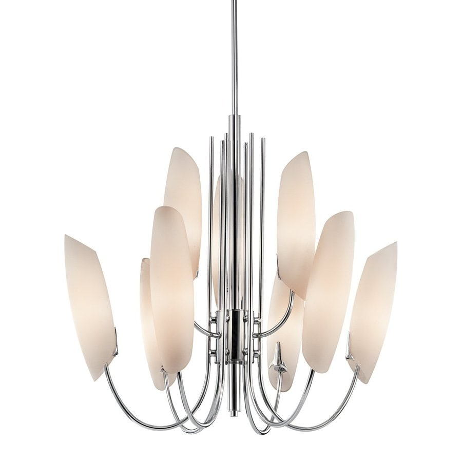Kichler Lighting Stella 26.5-in 9-Light Chrome Etched Glass Tiered Chandelier