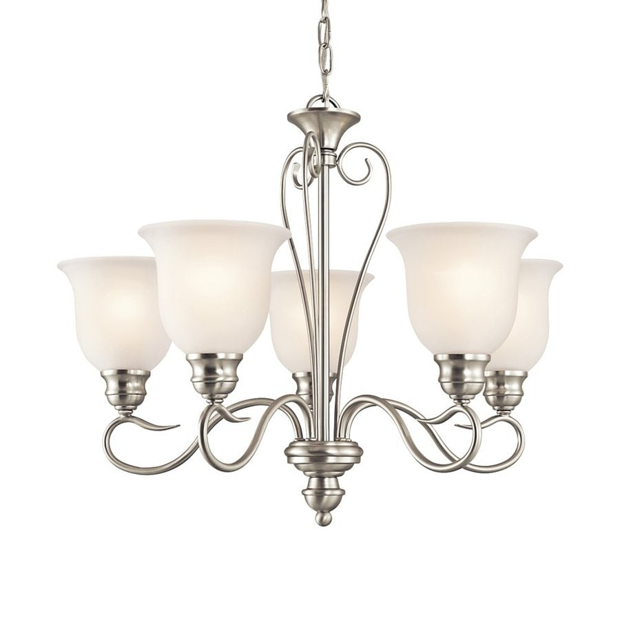 Kichler Tanglewood 24-in 5-Light Brushed Nickel Vintage Etched Glass Shaded Chandelier