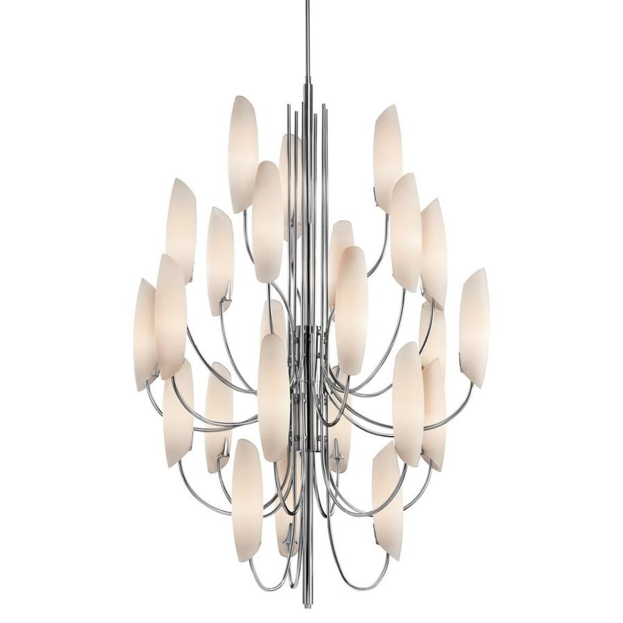 Kichler Lighting Stella 36-in 24-Light Chrome Etched Glass Tiered Chandelier