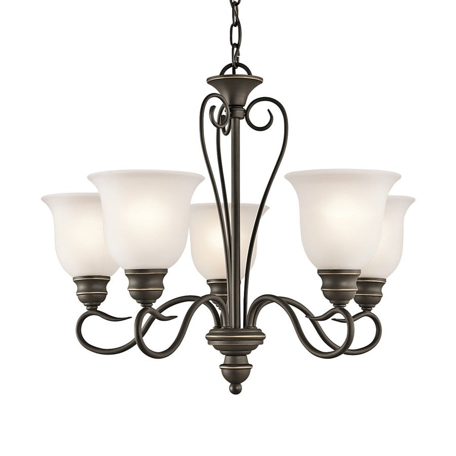 Kichler Tanglewood 24-in 5-Light Olde Bronze Vintage Etched Glass Shaded Chandelier