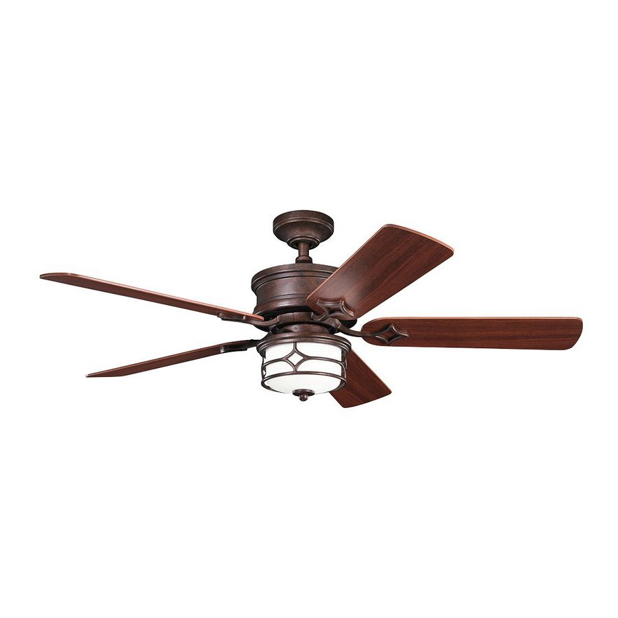 Kichler Lighting Chicago 52-in Tannery Bronze/Gold Downrod or Close Mount Indoor Ceiling Fan with Light Kit and Remote (5-Blade)