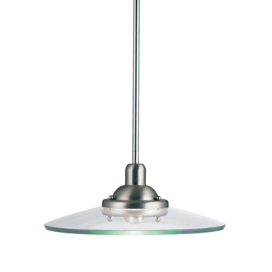 Kichler Galaxie 14-in Brushed Nickel Industrial Hardwired Single Clear Glass Warehouse Pendant
