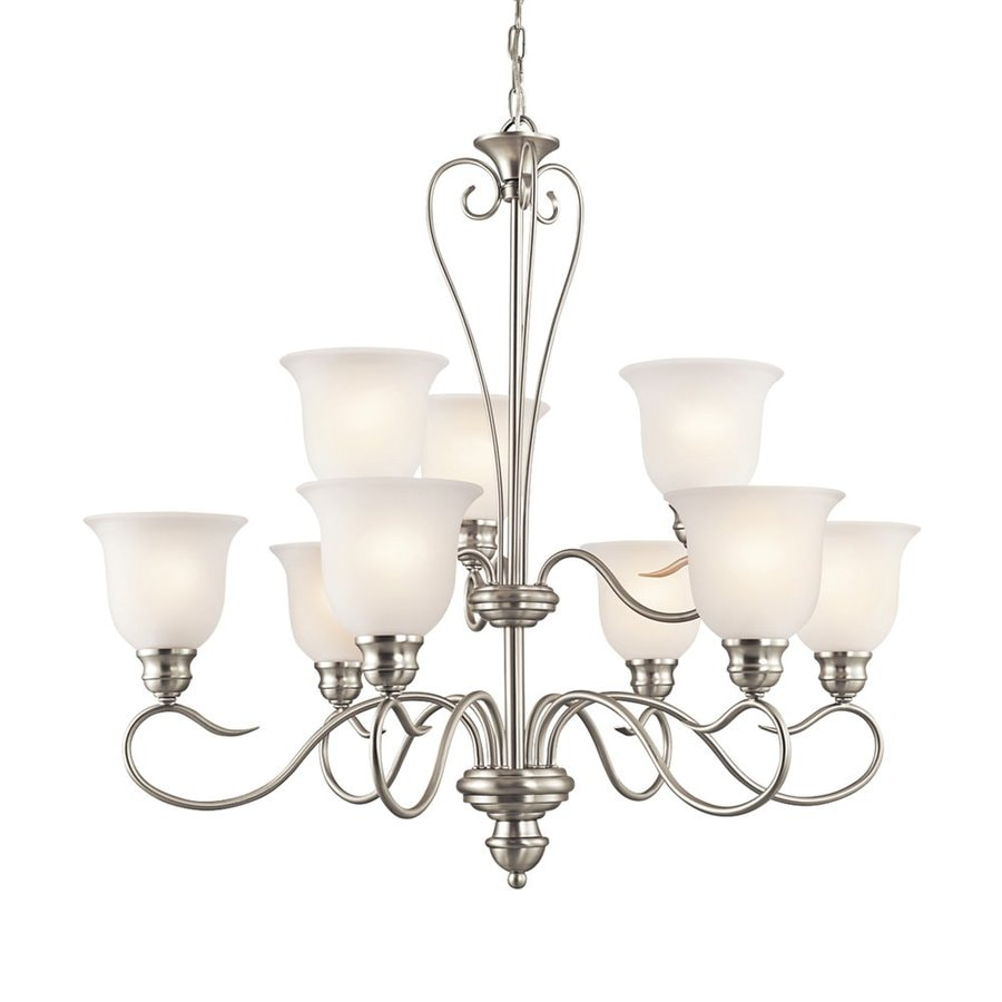 Kichler Lighting Tanglewood 32-in 9-Light Brushed Nickel Vintage Etched Glass Tiered Chandelier