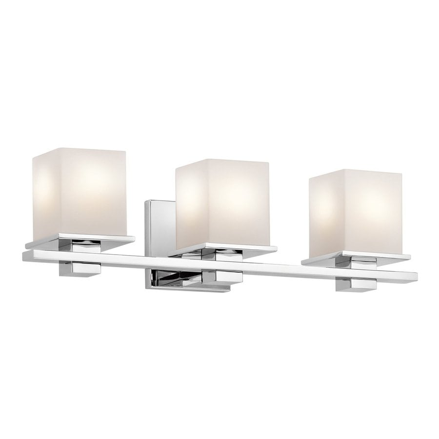 Bathroom Light Fixtures In Chrome shop kichler tully 3-light 6.5-in chrome square vanity light at