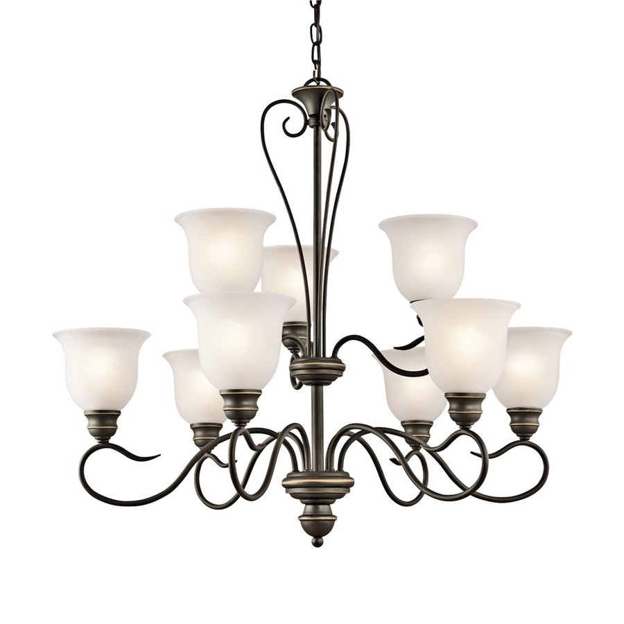 Kichler Lighting Tanglewood 32-in 9-Light Olde Bronze Vintage Etched Glass Tiered Chandelier