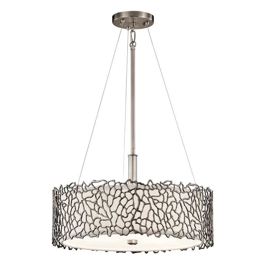 Kichler Lighting Silver Coral 18.25-in Classic Pewter Hardwired Single Etched Glass Drum Pendant
