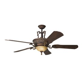 Kichler Kimberley 60 In Berkshire Bronze Indoor Downrod Mount Ceiling Fan With Light Kit And