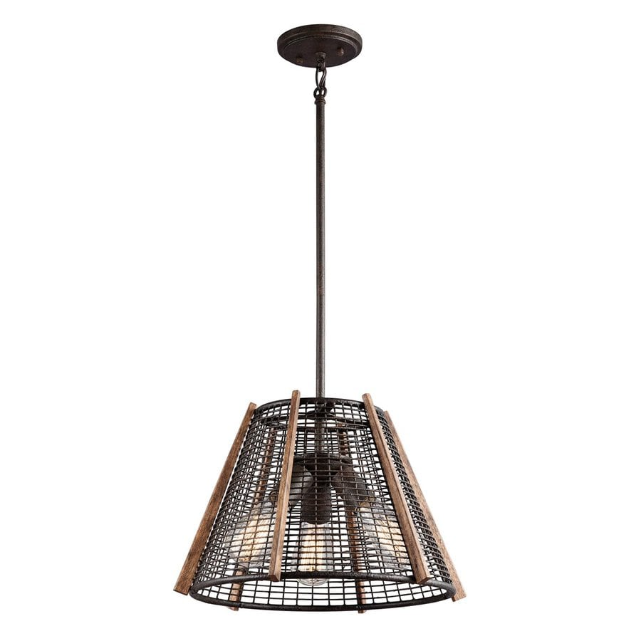 Kichler Calleis 16-in Rust Industrial Hardwired Single Cage Pendant