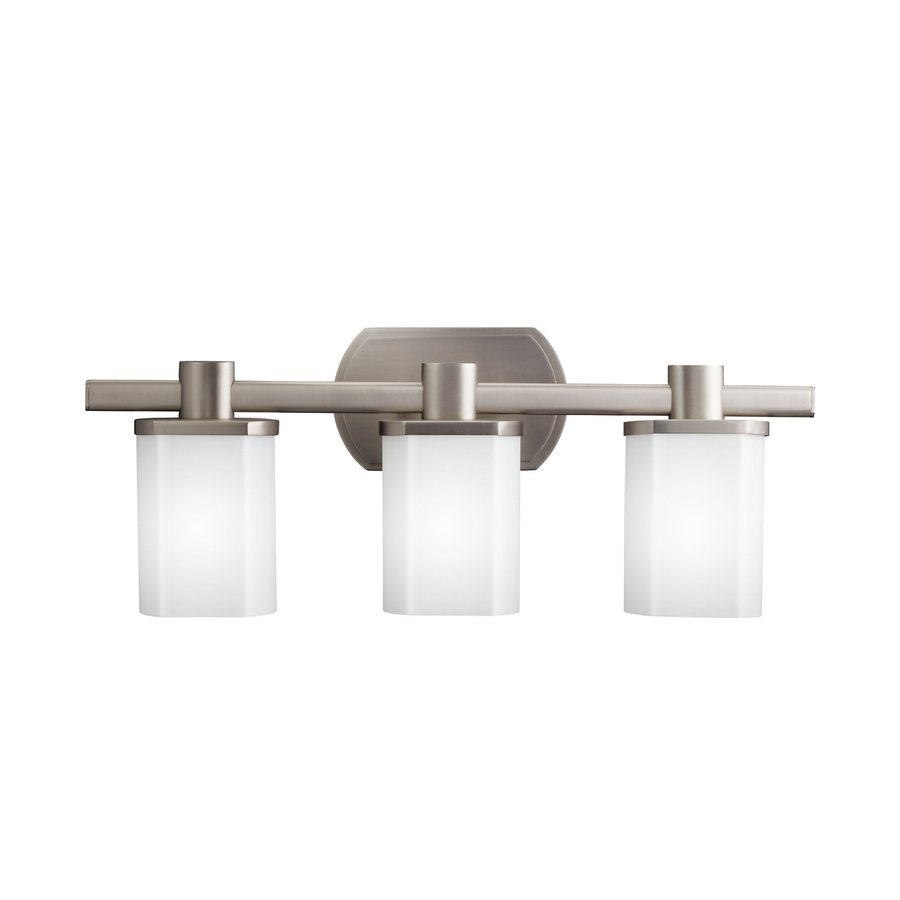 Shop kichler lege 3 light brushed nickel rectangle vanity light at for Brushed nickel bathroom lighting fixtures