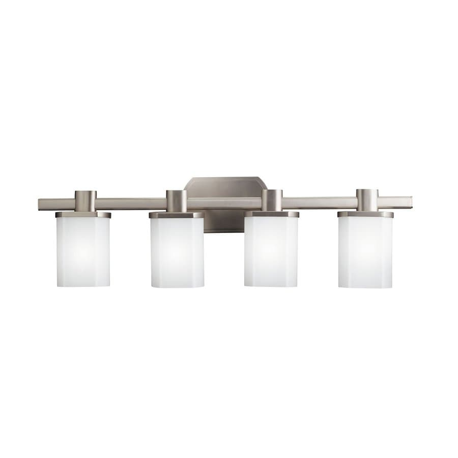 Shop kichler lege 4 light 9 in brushed nickel rectangle for Brushed nickel bathroom lighting fixtures