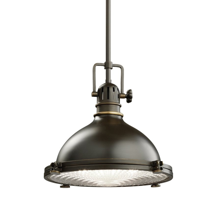 Kichler Hatteras Bay 11.75-in Olde Bronze Industrial Hardwired Single Ribbed Glass Warehouse Pendant
