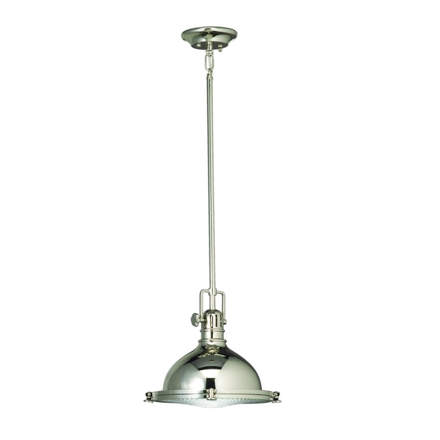 Kichler Lighting Hatteras Bay 11.75-in Polished Nickel Industrial Hardwired Single Ribbed Glass Warehouse Pendant