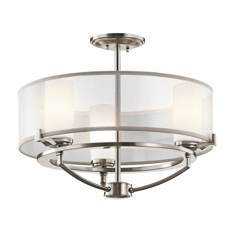 Kichler Saldana 18-in 3-Light Classic Pewter Etched Glass Drum Chandelier