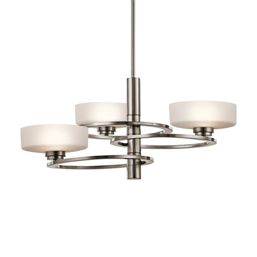 Kichler Aleeka 28.25-in 3-Light Classic Pewter Etched Glass Shaded Chandelier