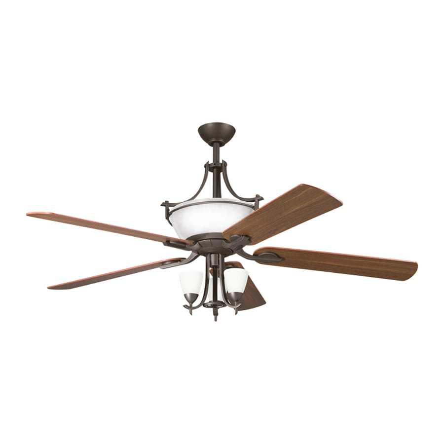 Kichler Lighting Olympia 60-in Olde Bronze Downrod Mount Indoor Ceiling Fan with Remote (5-Blade)