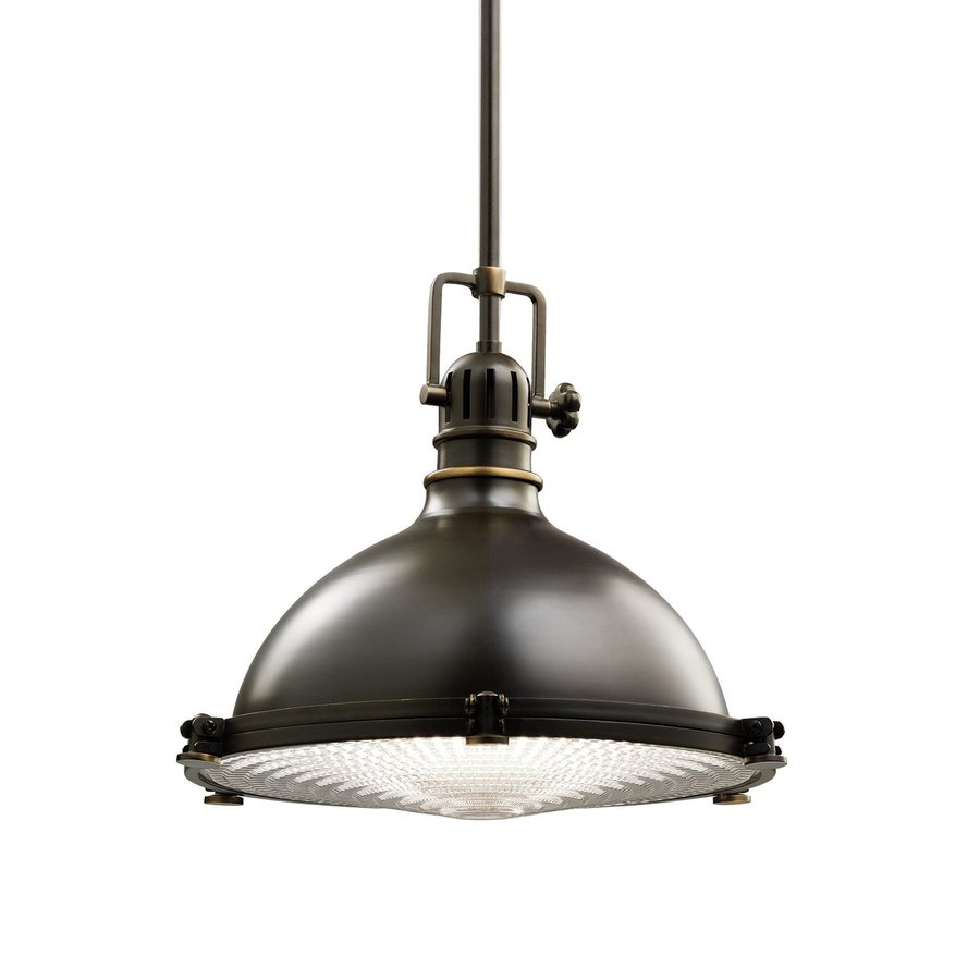 Kichler Hatteras Bay 13.25-in Olde Bronze Industrial Single Ribbed Glass Warehouse Pendant