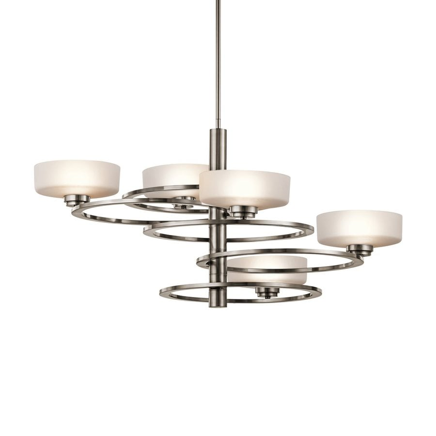 Kichler Aleeka 34-in 5-Light Classic Pewter Etched Glass Shaded Chandelier