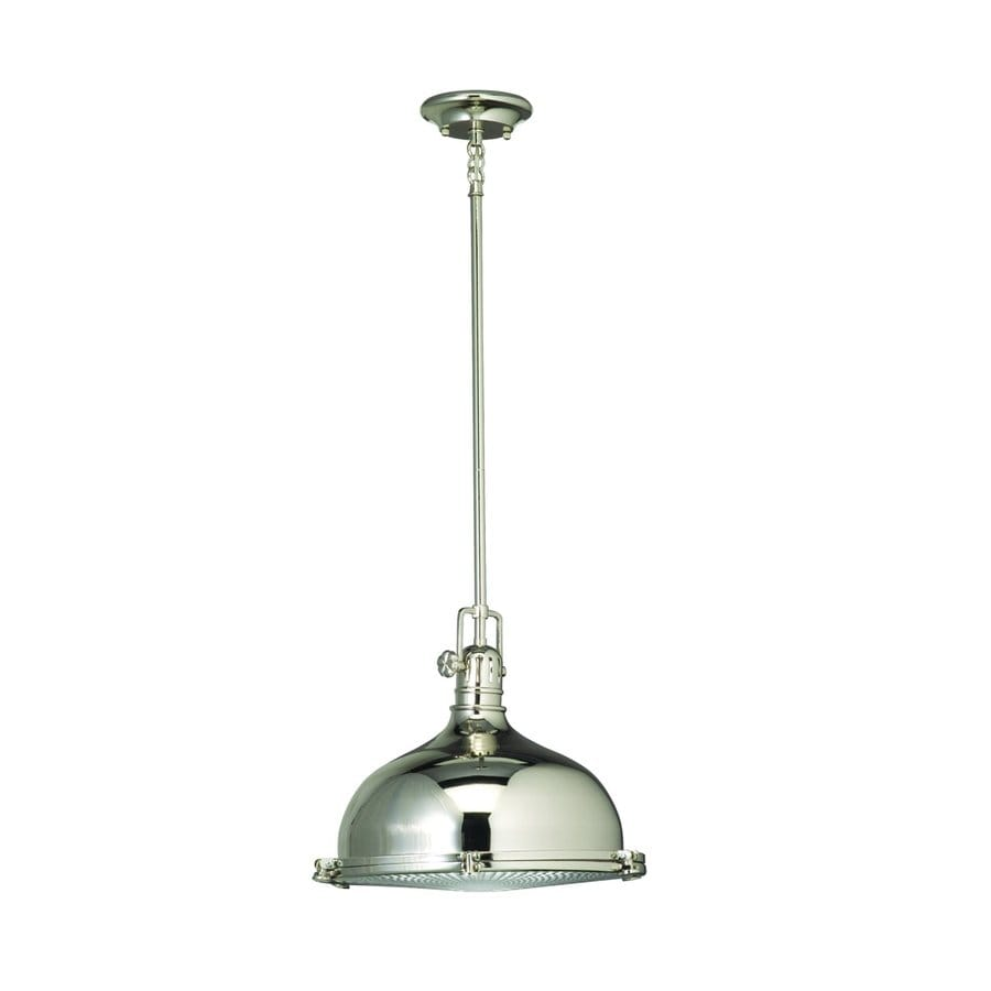 Kichler Lighting Hatteras Bay 13.25-in Polished Nickel Industrial Single Ribbed Glass Warehouse Pendant