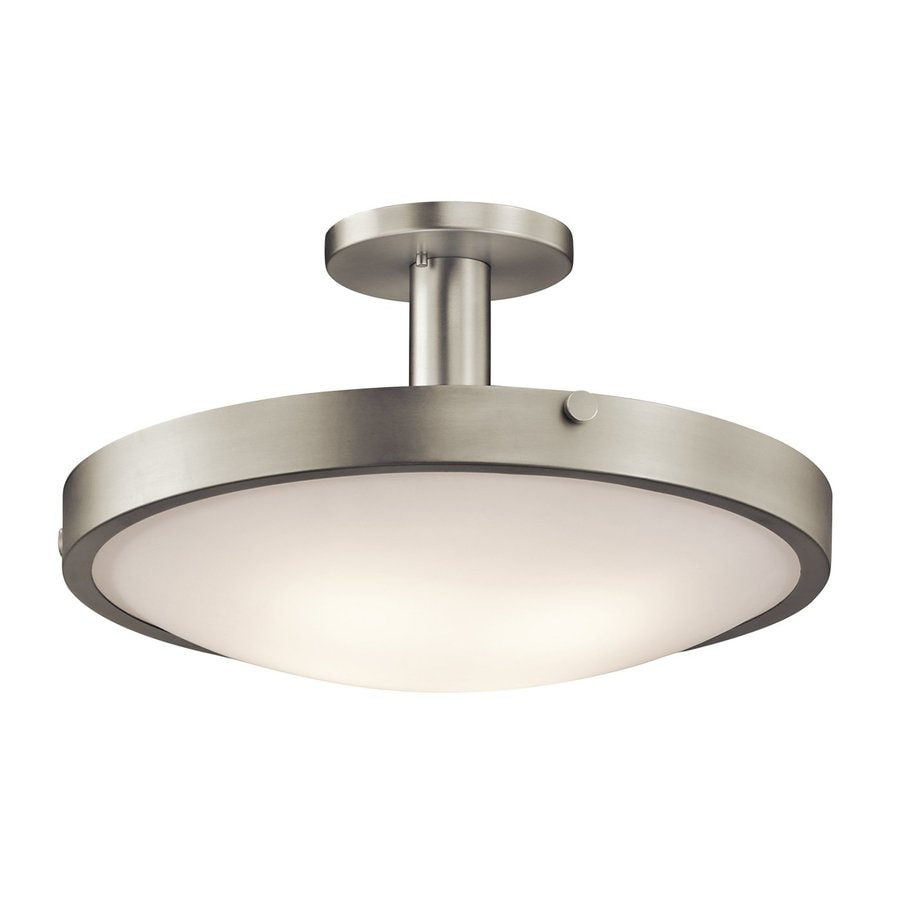 Kichler Lighting Lytham 20.5-in W Brushed Nickel Etched Glass Semi-Flush Mount Light