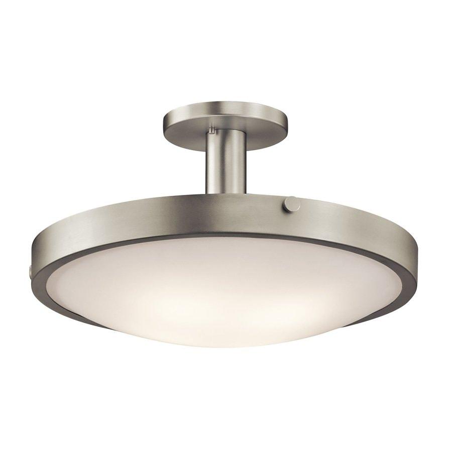 Kichler Lytham 20.5-in W Brushed Nickel Etched Glass Semi-Flush Mount Light