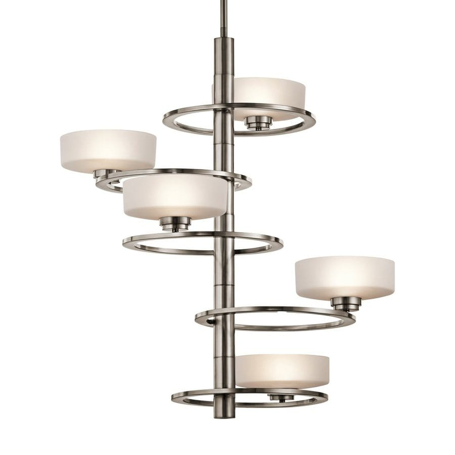 Kichler Lighting Aleeka 28.25-in 5-Light Classic Pewter Etched Glass Shaded Chandelier