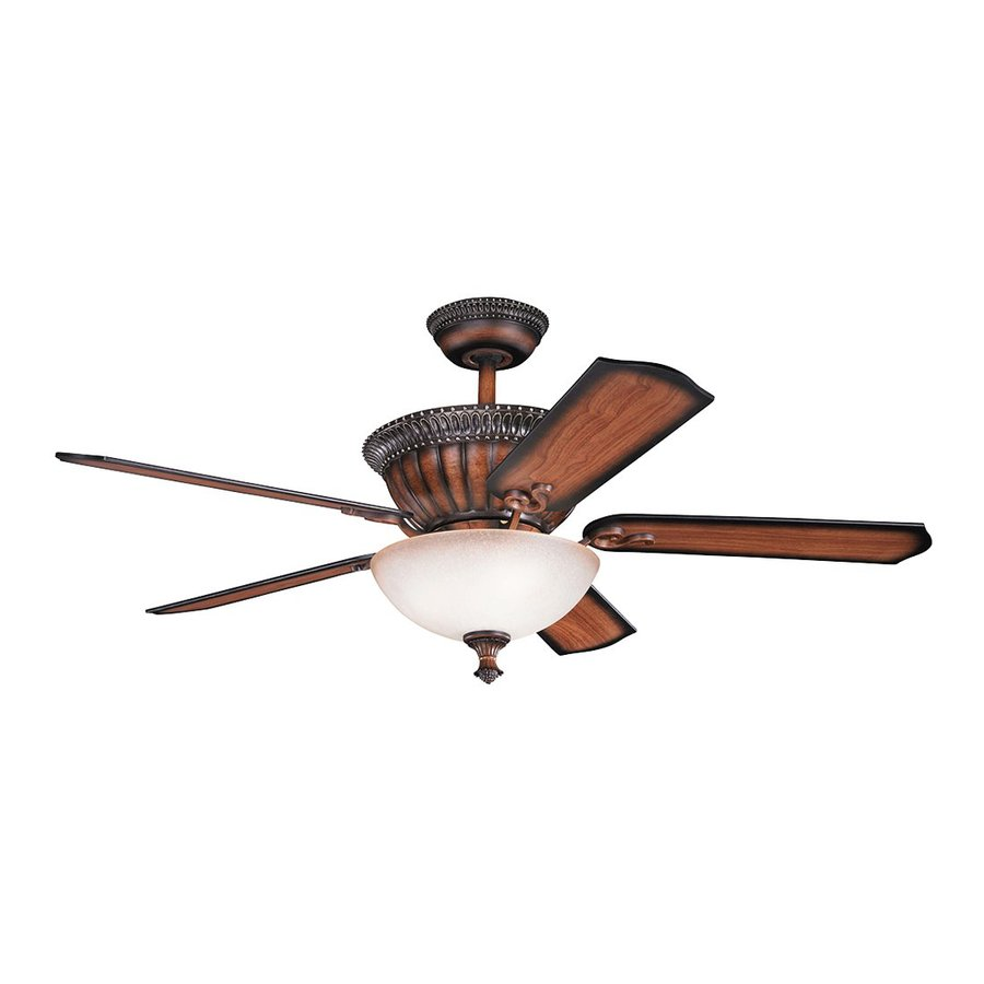 Kichler Lighting Larissa 52-in Mediterranean Walnut Downrod Mount Indoor Ceiling Fan with Light Kit and Remote (5-Blade)