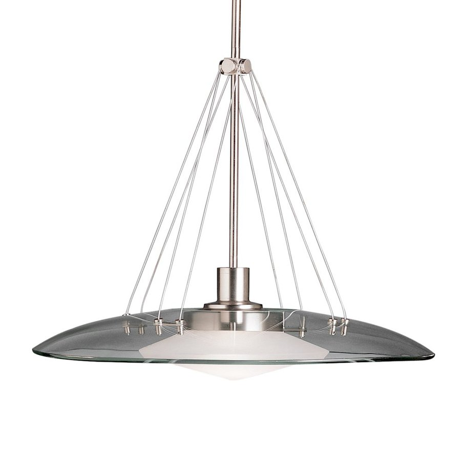 Kichler Lighting Structures 18-in Brushed Nickel Industrial Single Etched Glass Pendant