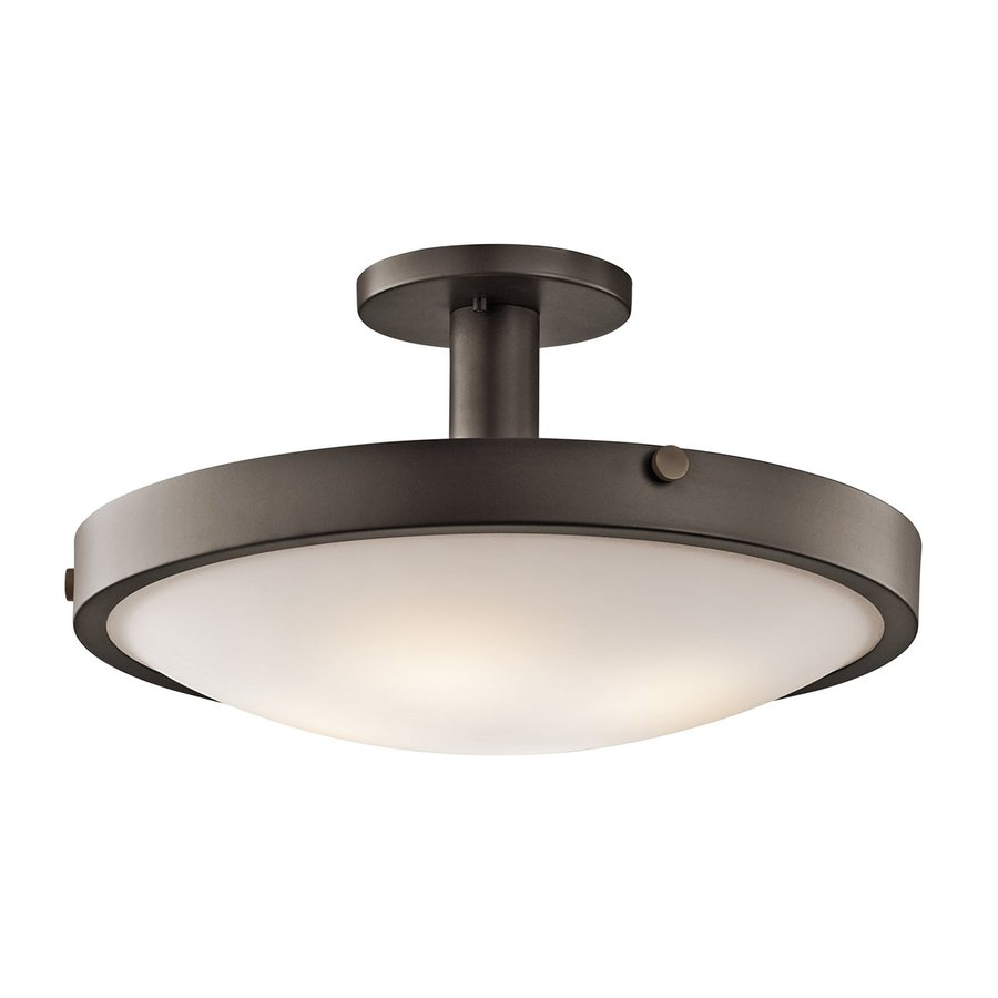 Kichler Lighting Lytham 20.5-in W Olde Bronze Etched Glass Semi-Flush Mount Light